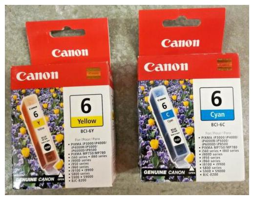 Genuine Canon Ink BCI 6Y Yellow   BCI 6C Cyan 2 Ink Pixma Sealed Retail Boxes