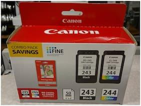 """Genuine NEW CANON 243 Black & 244 Color Set w/ 50 4""""x6"""" Photo Glossy Paper"""