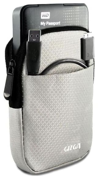GIZGA 2.5 Hard Drive Case - Impact Resistant Jacket Pouch (Silver)