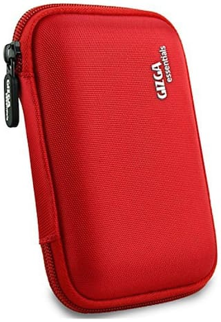 Gizga Essentials External Hard Drive Case for 2.5-inch Hard Drive - Double Padded (Red)