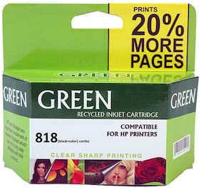 Green 818 Xl Combo Black And Color Cartridge (Pack Of 2)