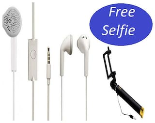 Grostar 100% Og Headset Earphone Best Sound Earphone With Samsung YS EHS61ASFWEC In the Ear Headset For Spice White Color+With Free  Pocket Compatible Black Selfie Stick