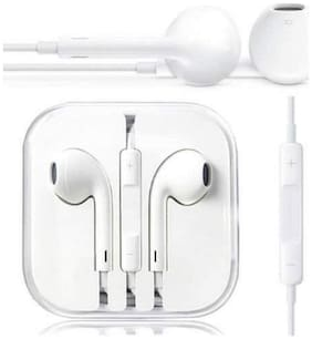 Apple Iphone Hands Free 3.5mm Earphone With Mic For Apple iphone & Android Smart Mobile Phones White Color