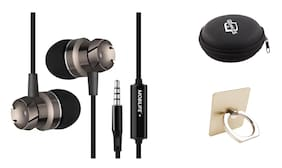 Mobilife Metal In-Ear earphone, Extra Bass, Remote control, Mic and Phone call with Earphone Case and Mobile Ring Holder ( Black )