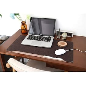 House of Quirk Laptop Keyboard Mouse Felt Pad with Paper and Pen Pocket for Desktops (Brown)
