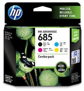 HP 685 Black Cyan Magenta Yellow Ink Advantage Cartridges, Pack of 4