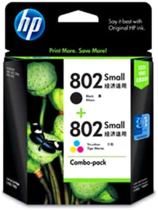 HP 802 Small Combo Black/Color Ink Cartridge CR312AHP 802 Set
