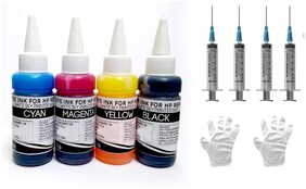 White Sky HP Cartridge 680 Refill Ink CMYK 300ml with Syringes