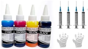 White Sky HP Printer Refill Ink for HP 2135 - 300ml (75ml x 4 CMYK) Premium Quality with 4 Syringes