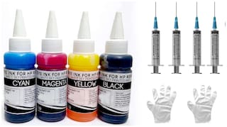 White Sky HP Printer Refill Ink for HP 1112 - 300ml (75ml x 4 CMYK) Premium Quality with 4 Syringes