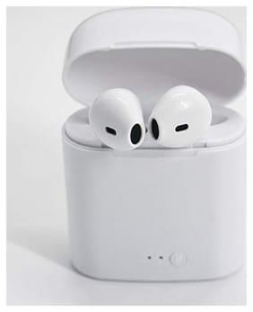 ONE94STORE I7S TWS WIRELESS BLUETOOTH EARPHONE STEREO EARBUD MINI PORTABLE BLUETOOTH HEADSET Mono bluetooth headset Bluetooth Headsets ( White )