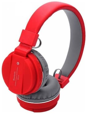 IMMUTABLE Wireless Bluetooth Headphone SH12 with SD Card Slot IMT4222 Over-Ear Bluetooth Headset ( Red )