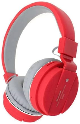 IMMUTABLE Wireless Bluetooth Headphone SH12 with SD Card Slot IMT418 Over-Ear Bluetooth Headset ( Red )