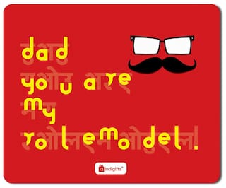 Indigifts Father Gift Dad You Are My Role Model Quote Fathers Face Illustration Red Mouse Pad