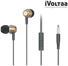 iVoltaa Metal Headset with Mic & Call Button Sports suitable for Audiophiles, Gaming, PC, Mac and Phones. 1.2 m Extra Long Earphone. Carrying Pouch Included (Gold)