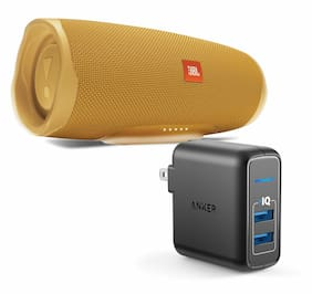 JBL Charge 4 Yellow Portable Bluetooth Speaker w/Anker Wall Charger