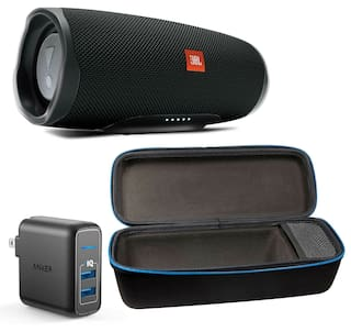 JBL Charge 4 Black Bluetooth Speaker w/divvi! Case & Wall Charger