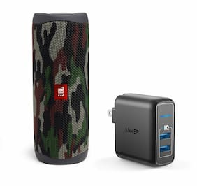 JBL Flip 5 Camoflage Portable Bluetooth Speaker w/Wall Charger