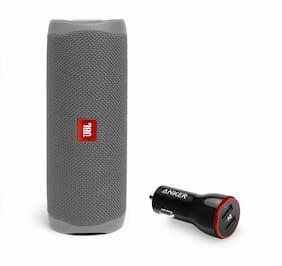 JBL Flip 5 Gray Portable Bluetooth Speaker w/Car Charger