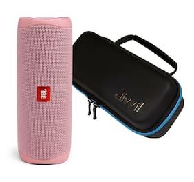 JBL Flip 5 Pink Portable Bluetooth Speaker w/divvi! Hardshell Case