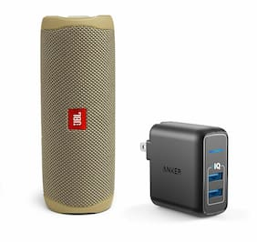 JBL Flip 5 Sand Portable Bluetooth Speaker w/Wall Charger