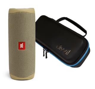 JBL Flip 5 Sand Portable Bluetooth Speaker w/divvi! Hardshell Case