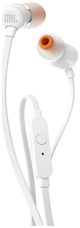 JBL T110 Pure Bass In Ear Earphones With Mic (White)