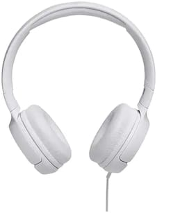 JBL T500 Powerful Bass On-Ear Headphones with Mic (White)