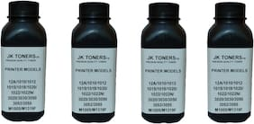 Jk Toners Pack of 4 Powder Refill Compatible with Hp 12a, Q2612a / Canon 303, Fx-9 Cartridge Hp Laserjet 1010,1012,1020,1020 Plus,1022,LBP 2900 (Black) (120GM) Ink Toner Powder