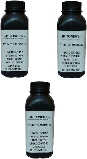 Jk Toners Pack of 3 Powder Refill Compatible with Hp 12a, Q2612a / Canon 303, Fx-9 Cartridge Hp Laserjet 1010,1012,1020,1020 Plus,1022,LBP 2900 (Black) (120GM) Ink Toner Powder
