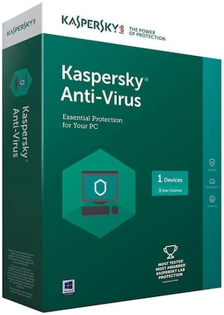 Kaspersky Antivirus Software 2017 1 Pc 3Year (1cd,1095 Days Valid Serial Key This serial key also use for renewal purpose Offer & Plastic Cd Cover For Safe the cd From Scartch)