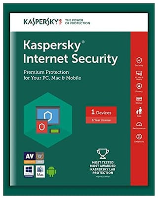 Kaspersky Internet Security ( 1 PC , 1 yr ) Security Softwares