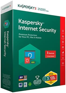 Kaspersky Internet Security ( 3 PC , 1 yr ) Security Softwares