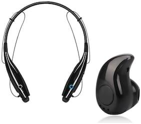 KIX2 HBS-730 Neckband Magnetic Wireless Bluetooth Earphone with Mic & S530 Mini Bluetooth Earphone with Mic In-Ear Bluetooth Headset ( Black )