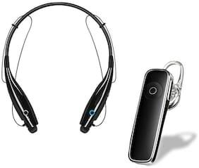 KIX2 HBS-730 Neckband Magnetic Wireless Bluetooth Earphone with Mic & M51 Mono Bluetooth Earphone with Mic In-Ear Bluetooth Headset ( Black )