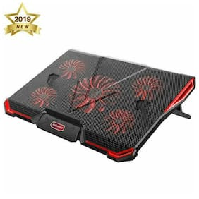 Laptop Cooler Laptop Cooling Pad with 5 Quiet Fans for 12-17.3 Inch Laptop Red