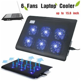 """Laptop Notebook Cooling 6 Fans USB Cooler Pad Computer Stand For 15.6"""" PC BT"""