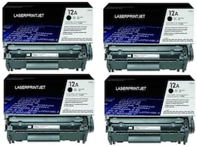 HP 12A Pack Of 4 Cartridge Single Color Toner ( Black)
