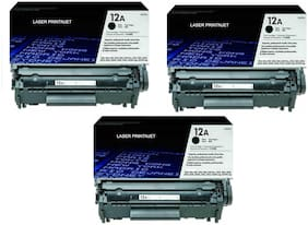LASER PRINTJET HP 12A Toner Cartridge Single color Toner (Pack Of 3) (Black)
