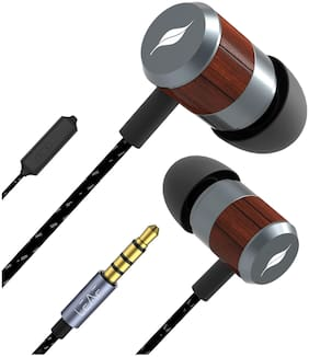 Leaf Bolt Wooden Wired Earphones with Mic and In-line Remote for Music Controls