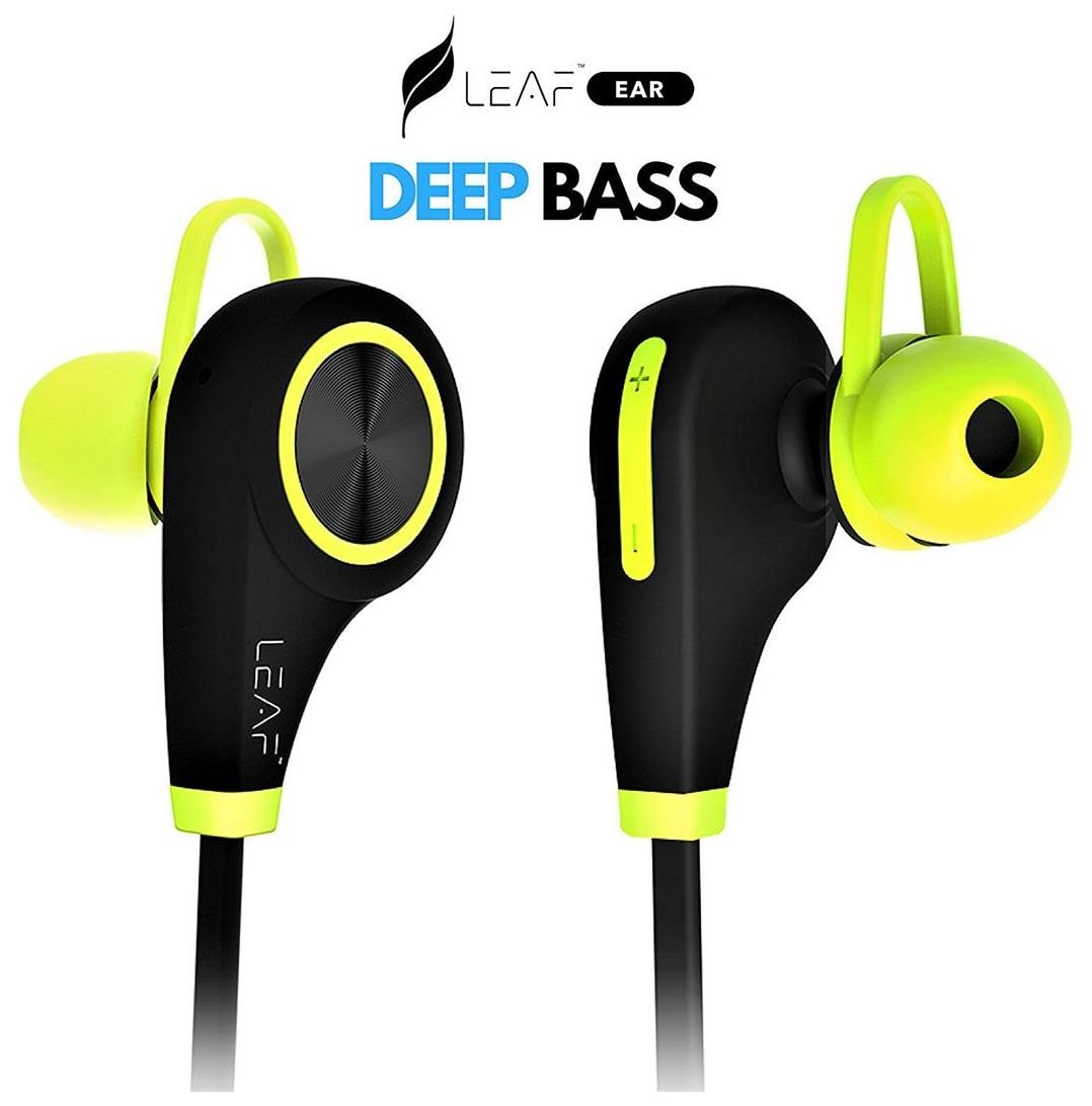 Leaf Ear Wireless Bluetooth Earphones with Mic (Neon Green)