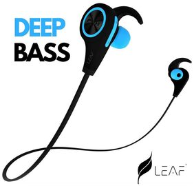 Leaf Ear Wireless Bluetooth 4.1 Sweatproof Sports Jogger Earphones with Deep Bass and Headset Compatible With Android and iOS Devices- (Cool Blue)