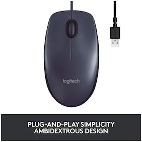 Logitech B100 Wired Mouse ( Black )