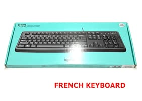 Logitech K120 Ergonomic Desktop USB Wired FRENCH Keyboard Black Sealed Box UA2-3