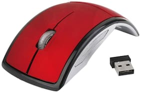 Tech Gear Laptop Pc 2.4Ghz Wireless Foldable Folding Arch Optical Mouse Usb Mice Red