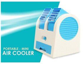 Mini Portable Dual Bladeless Small Air Conditioner Water-Air Cooler, Air Cooler, Mini Cooler, USB Cooler, USB Fan Powered by USB & Battery
