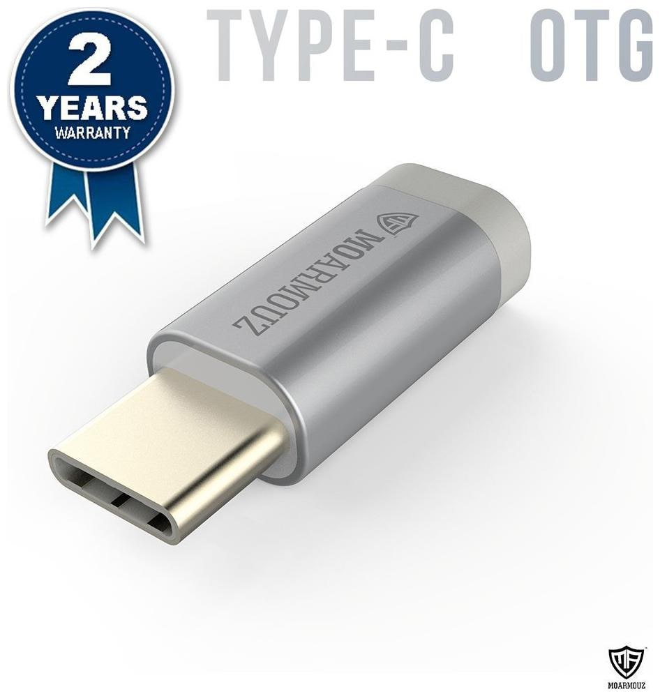 MoArmouz Type-C Micro USB OTG Adapter for Smartphones and Other Devices (Silver)