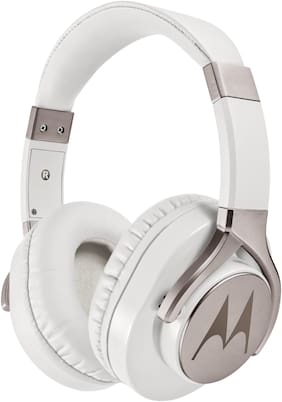 Motorola Pulse 3 Max Over Ear Headphones (White and Gold)