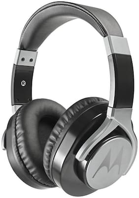 Motorola Pulse max with alexa Over-ear Wired Headphone ( Black )