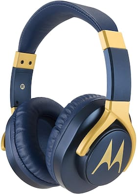 Motorola Pulse 3 Max Over Ear Headphones (Blue and Gold)